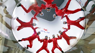 Nine instructors flying high in the tunnel